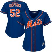 Wholesale Cheap Mets #52 Yoenis Cespedes Blue Alternate Women's Stitched MLB Jersey