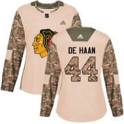 Wholesale Cheap Adidas Blackhawks #44 Calvin De Haan Camo Authentic 2017 Veterans Day Women's Stitched NHL Jersey