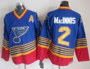 Wholesale Cheap Blues #2 Al MacInnis Light Blue/Red CCM Throwback Stitched NHL Jersey