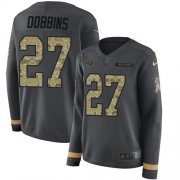 Wholesale Cheap Nike Ravens #27 J.K. Dobbins Anthracite Salute to Service Women's Stitched NFL Limited Therma Long Sleeve Jersey