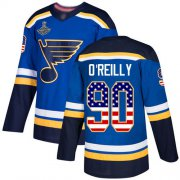 Wholesale Cheap Adidas Blues #90 Ryan O'Reilly Blue Home Authentic USA Flag Stanley Cup Champions Stitched NHL Jersey