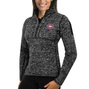 Wholesale Cheap Montreal Canadiens Antigua Women's Fortune 1/2-Zip Pullover Sweater Charcoal