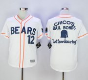 Wholesale Cheap Bad News Bears Button Down #12 Tanner Boyle White Movie Stitched MLB Jersey