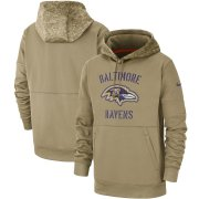 Wholesale Cheap Men's Baltimore Ravens Nike Tan 2019 Salute to Service Sideline Therma Pullover Hoodie