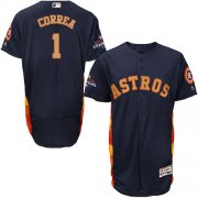 Wholesale Cheap Astros #1 Carlos Correa Navy Blue FlexBase Authentic 2018 Gold Program Cool Base Stitched MLB Jersey