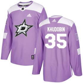 Cheap Adidas Stars #35 Anton Khudobin Purple Authentic Fights Cancer Youth Stitched NHL Jersey