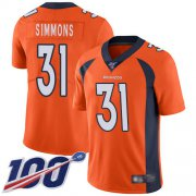 Wholesale Cheap Nike Broncos #31 Justin Simmons Orange Men's Stitched NFL 100th Season Vapor Limited Jersey