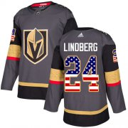 Wholesale Cheap Adidas Golden Knights #24 Oscar Lindberg Grey Home Authentic USA Flag Stitched Youth NHL Jersey