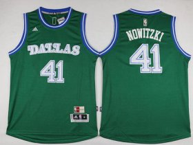Wholesale Cheap Men\'s Dallas Mavericks #41 Dirk Nowitzki Revolution 30 Swingman 2015-16 Green Jersey
