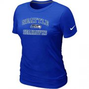 Wholesale Cheap Women's Nike Seattle Seahawks Heart & Soul NFL T-Shirt Blue