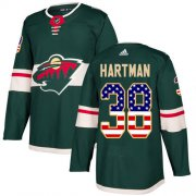 Wholesale Cheap Adidas Wild #38 Ryan Hartman Green Home Authentic USA Flag Stitched NHL Jersey