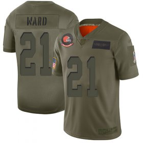 Wholesale Cheap Nike Browns #21 Denzel Ward Camo Men\'s Stitched NFL Limited 2019 Salute To Service Jersey