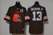 Wholesale Cheap Men's Cleveland Browns #13 Odell Beckham Jr Brown 2020 Big Logo Number Vapor Untouchable Stitched NFL Nike Fashion Limited Jersey