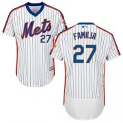 Wholesale Cheap Mets #27 Jeurys Familia White(Blue Strip) Flexbase Authentic Collection Alternate Stitched MLB Jersey