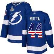 Cheap Adidas Lightning #44 Jan Rutta Blue Home Authentic USA Flag 2020 Stanley Cup Champions Stitched NHL Jersey