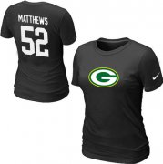 Wholesale Cheap Women's Nike Green Bay Packers #52 Clay Matthews Name & Number T-Shirt Black