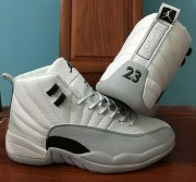 Wholesale Cheap Womens Air Jordan 12 Barons White/Black-Grey