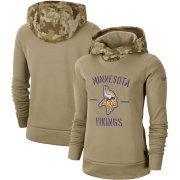 Wholesale Cheap Women's Minnesota Vikings Nike Khaki 2019 Salute to Service Therma Pullover Hoodie