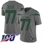 Wholesale Cheap Nike Jets #77 Mekhi Becton Gray Men's Stitched NFL Limited Inverted Legend 100th Season Jersey