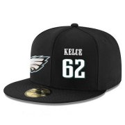 Wholesale Cheap Philadelphia Eagles #62 Jason Kelce Snapback Cap NFL Player Black with White Number Stitched Hat