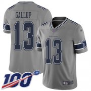 Wholesale Cheap Nike Cowboys #13 Michael Gallup Gray Men's Stitched NFL Limited Inverted Legend 100th Season Jersey