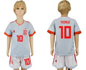 Wholesale Cheap Spain #10 Thiago Away Kid Soccer Country Jersey
