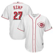 Wholesale Cheap Men's Reds #27 Matt Kemp Majestic White Home Official Cool Base Player Jersey