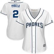 Wholesale Cheap Padres #2 Jose Pirela White Home Women's Stitched MLB Jersey