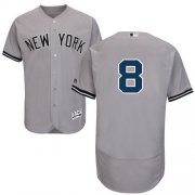 Wholesale Cheap Yankees #8 Yogi Berra Grey Flexbase Authentic Collection Stitched MLB Jersey