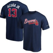 Wholesale Cheap Atlanta Braves #13 Ronald Acuna Jr. Majestic 2019 Postseason Name & Number T-Shirt Navy