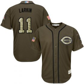 Wholesale Cheap Reds #11 Barry Larkin Green Salute to Service Stitched MLB Jersey