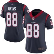 Wholesale Cheap Nike Texans #88 Jordan Akins Navy Blue Team Color Women's Stitched NFL Vapor Untouchable Limited Jersey