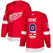 Wholesale Cheap Adidas Red Wings #9 Gordie Howe Red Home Authentic USA Flag Stitched Youth NHL Jersey