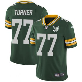 Wholesale Cheap Nike Packers #77 Billy Turner Green Team Color Men\'s 100th Season Stitched NFL Vapor Untouchable Limited Jersey