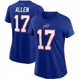 Wholesale Cheap Buffalo Bills #17 Josh Allen Nike Women\'s Team Player Name & Number T-Shirt Royal