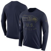 Wholesale Cheap Men's Seattle Seahawks Nike Navy Salute to Service Sideline Legend Performance Long Sleeve T-Shirt