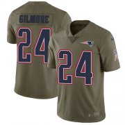 Wholesale Cheap Nike Patriots #24 Stephon Gilmore Olive Youth Stitched NFL Limited 2017 Salute to Service Jersey