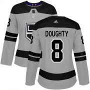 Wholesale Cheap Adidas Kings #8 Drew Doughty Gray Alternate Authentic Women's Stitched NHL Jersey