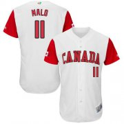 Wholesale Cheap Team Canada #11 Jonathan Malo White 2017 World MLB Classic Authentic Stitched MLB Jersey