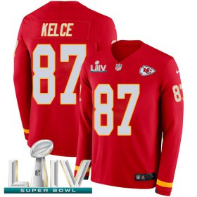 Wholesale Cheap Nike Chiefs #87 Travis Kelce Red Super Bowl LIV 2020 Team Color Men\'s Stitched NFL Limited Therma Long Sleeve Jersey