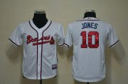 Wholesale Cheap Braves #10 Chipper Jones White Cool Base Stitched Youth MLB Jersey