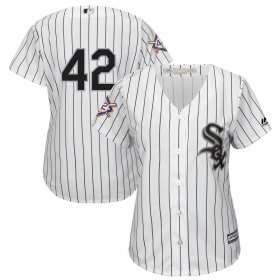 Wholesale Cheap Chicago White Sox #42 Majestic Women\'s 2019 Jackie Robinson Day Official Cool Base Jersey White
