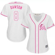 Wholesale Cheap Marlins #8 Andre Dawson White/Pink Fashion Women's Stitched MLB Jersey