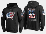 Wholesale Cheap Blue Jackets #65 Markus Nutivaara NHL Banner Wave Usa Flag Black Hoodie