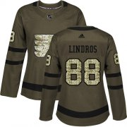 Wholesale Cheap Adidas Flyers #88 Eric Lindros Green Salute to Service Women's Stitched NHL Jersey