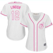 Wholesale Cheap Indians #12 Francisco Lindor White/Pink Fashion Women's Stitched MLB Jersey