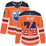 Wholesale Cheap Adidas Oilers #74 Ethan Bear Orange Home Authentic USA Flag Women's Stitched NHL Jersey