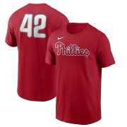 Wholesale Cheap Philadelphia Phillies Nike Jackie Robinson Day Team 42 T-Shirt Red