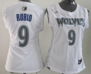Wholesale Cheap Minnesota Timberwolves #9 Ricky Rubio White Womens Jersey