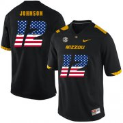 Wholesale Cheap Missouri Tigers 12 Johnathon Johnson Black USA Flag Nike College Football Jersey